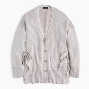 J.Crew Cardigan Sweater With Side Ties In Gray